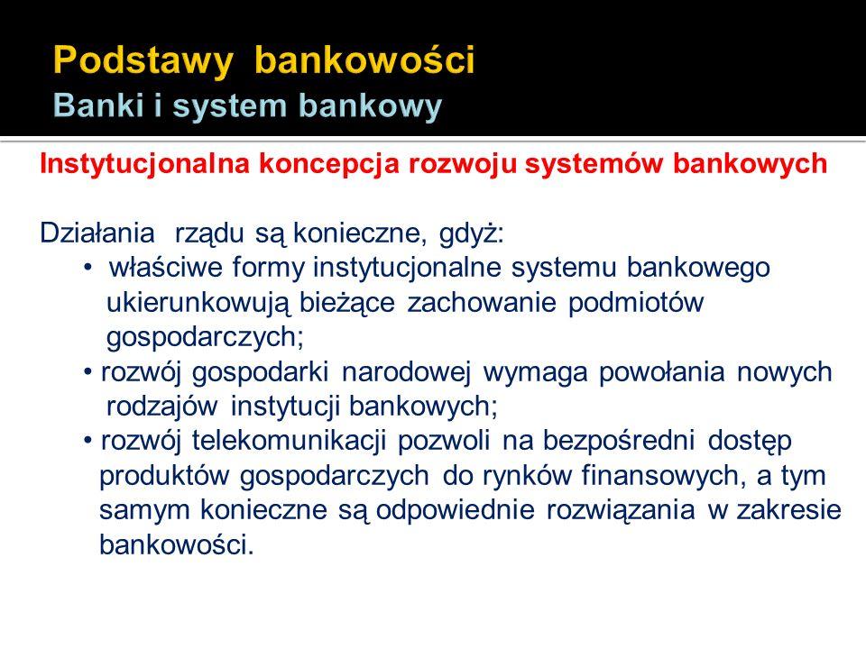 Instytucjonalna koncepcja rozwoju systemów bankowych Działania rządu są konieczne, gdyż: właściwe formy instytucjonalne systemu bankowego ukierunkowuj