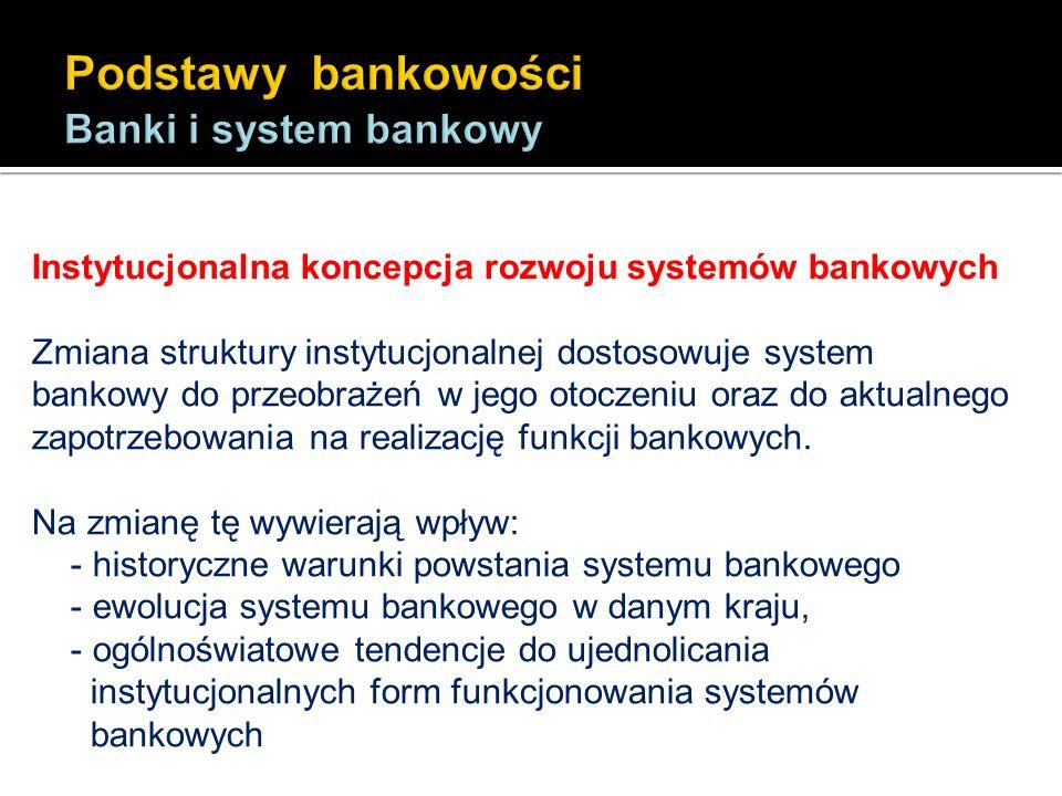Instytucjonalna koncepcja rozwoju systemów bankowych Zmiana struktury instytucjonalnej dostosowuje system bankowy do przeobrażeń w jego otoczeniu oraz
