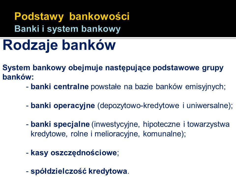 Rodzaje banków System bankowy obejmuje następujące podstawowe grupy banków: - banki centralne powstałe na bazie banków emisyjnych; - banki operacyjne