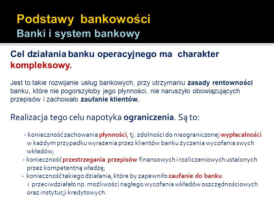 Cel działania banku operacyjnego ma charakter kompleksowy. Jest to takie rozwijanie usług bankowych, przy utrzymaniu zasady rentowności banku, które n