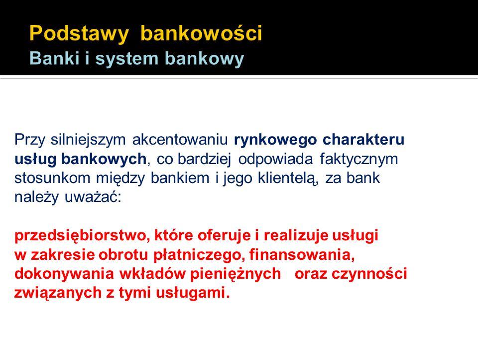 Rola banku: - rola płatnika: dokonywanie płatności w imieniu swoich klientów; - rola agenta: działanie w imieniu klientów w zakresie emisji papierów wartościowych i zarządzania własnością klientów; - rola gwaranta: poparcie udzielane klientom w spłacie ich zobowiązań; - rola pośrednika: dokonywanie transformacji otrzymanych depozytów w kredyty, przede wszystkim dla przedsiębiorstw (pośrednictwo między podmiotami deficytowymi i nadwyżkowymi); - rola instrumentu w realizacji polityki gospodarczej kraju: regulowanie podaży pieniądza poprzez działanie banku centralnego.