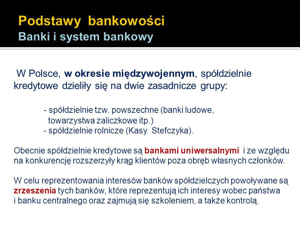 W Polsce, w okresie międzywojennym, spółdzielnie kredytowe dzieliły się na dwie zasadnicze grupy: - spółdzielnie tzw. powszechne (banki ludowe, towarz
