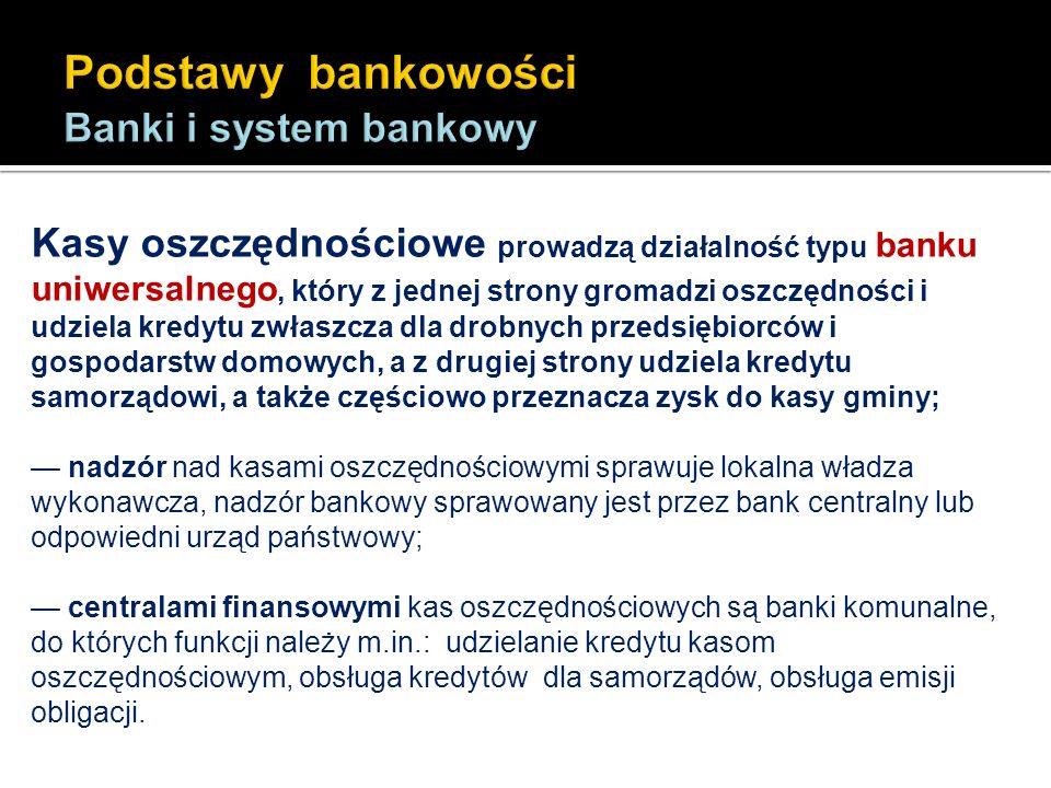 Kasy oszczędnościowe prowadzą działalność typu banku uniwersalnego, który z jednej strony gromadzi oszczędności i udziela kredytu zwłaszcza dla drobny