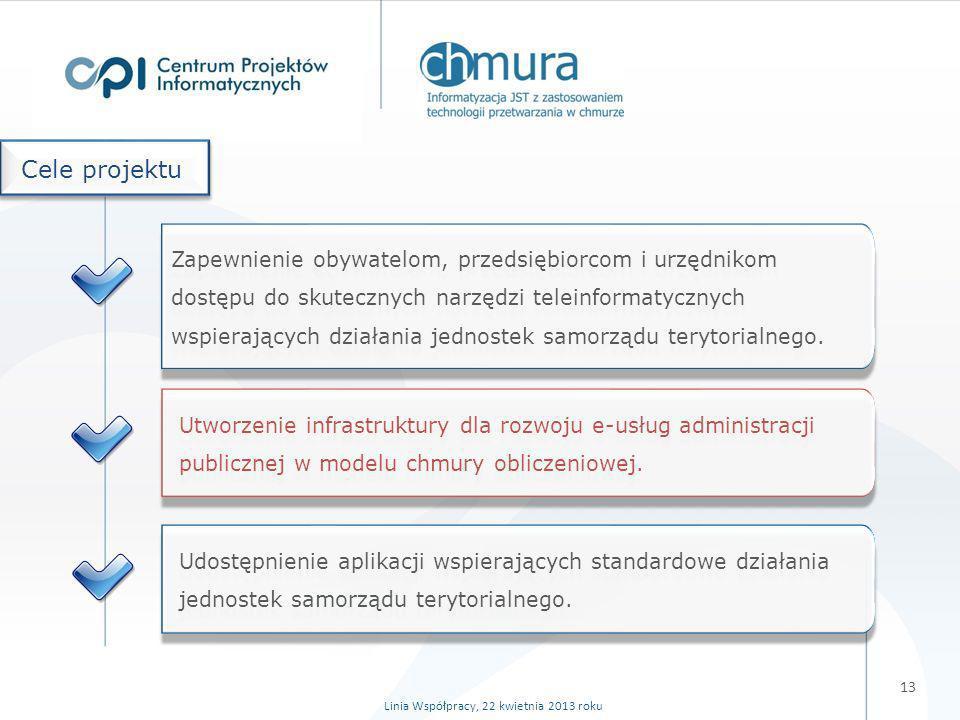 W trakcie realizacji projektu: Podstawowy ośrodek obliczeniowy i ośrodek pomocniczy (z niezbędną infrastrukturą) + centrum zarządzania systemem, Zwirtualizowana infrastruktura świadcząca usługi w modelu IaaS, Platformy udostępniane w modelu PaaS (połączenie z ePUAP), Aplikacje webowe udostępniane w modelu SaaS.