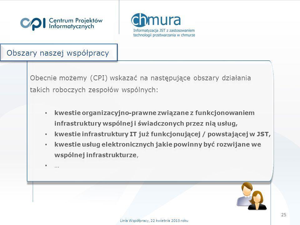 25 Linia Współpracy, 22 kwietnia 2013 roku Obecnie możemy (CPI) wskazać na następujące obszary działania takich roboczych zespołów wspólnych: kwestie