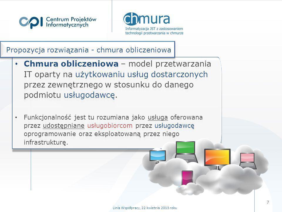 Linia Współpracy, 22 kwietnia 2013 roku Chmura to więcej niż tylko przeniesienie zasobów IT (serwerów, danych, aplikacji) z naszej firmy/serwerowni w inne miejsce i wynikające stąd oszczędności kosztów: zakupu sprzętu i oprogramowania (w tym licencji), utrzymania ośrodków obliczeniowych oraz ich kadr, związanych z koniecznością zakupu licencji czy instalowania sw, związanych z administrowaniem oprogramowaniem.