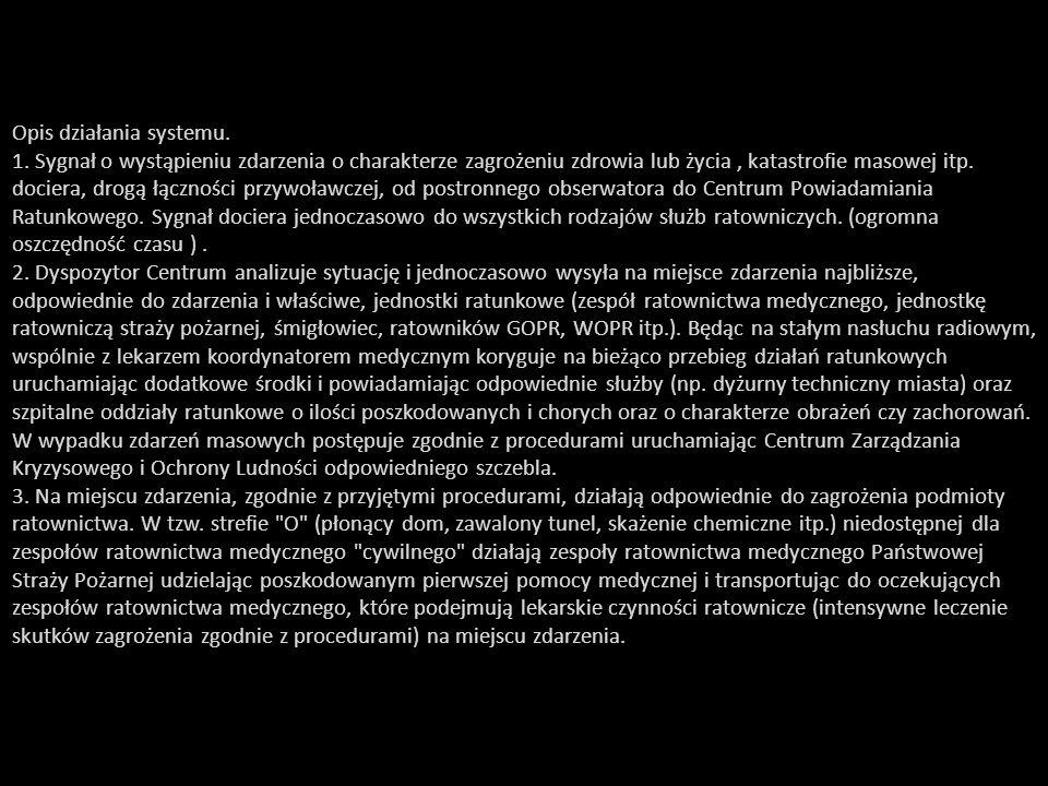 Opis działania systemu. 1. Sygnał o wystąpieniu zdarzenia o charakterze zagrożeniu zdrowia lub życia, katastrofie masowej itp. dociera, drogą łącznośc