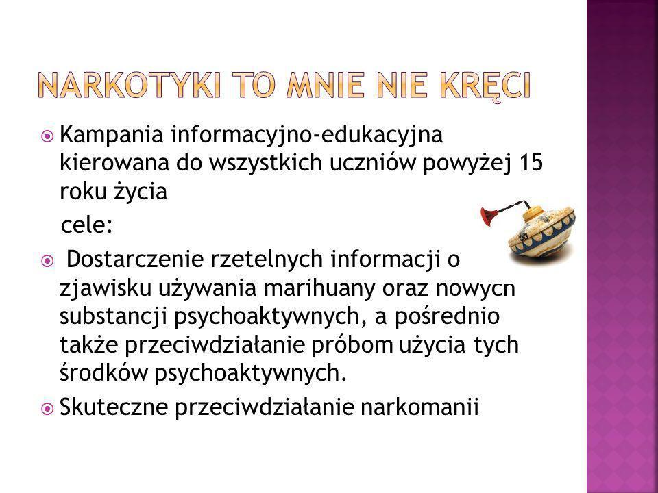 Kampania informacyjno-edukacyjna kierowana do wszystkich uczniów powyżej 15 roku życia cele: Dostarczenie rzetelnych informacji o zjawisku używania ma