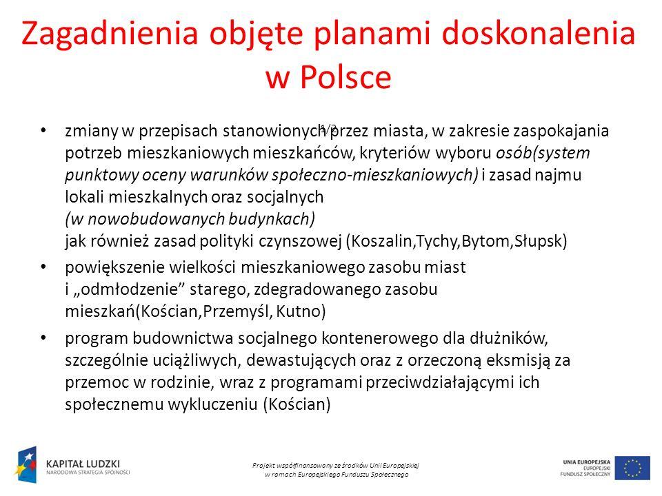 Zagadnienia objęte planami doskonalenia w Polsce 1/2 zmiany w przepisach stanowionych przez miasta, w zakresie zaspokajania potrzeb mieszkaniowych mieszkańców, kryteriów wyboru osób(system punktowy oceny warunków społeczno-mieszkaniowych) i zasad najmu lokali mieszkalnych oraz socjalnych (w nowobudowanych budynkach) jak również zasad polityki czynszowej (Koszalin,Tychy,Bytom,Słupsk) powiększenie wielkości mieszkaniowego zasobu miast i odmłodzenie starego, zdegradowanego zasobu mieszkań(Kościan,Przemyśl, Kutno) program budownictwa socjalnego kontenerowego dla dłużników, szczególnie uciążliwych, dewastujących oraz z orzeczoną eksmisją za przemoc w rodzinie, wraz z programami przeciwdziałającymi ich społecznemu wykluczeniu (Kościan) Projekt współfinansowany ze środków Unii Europejskiej w ramach Europejskiego Funduszu Społecznego