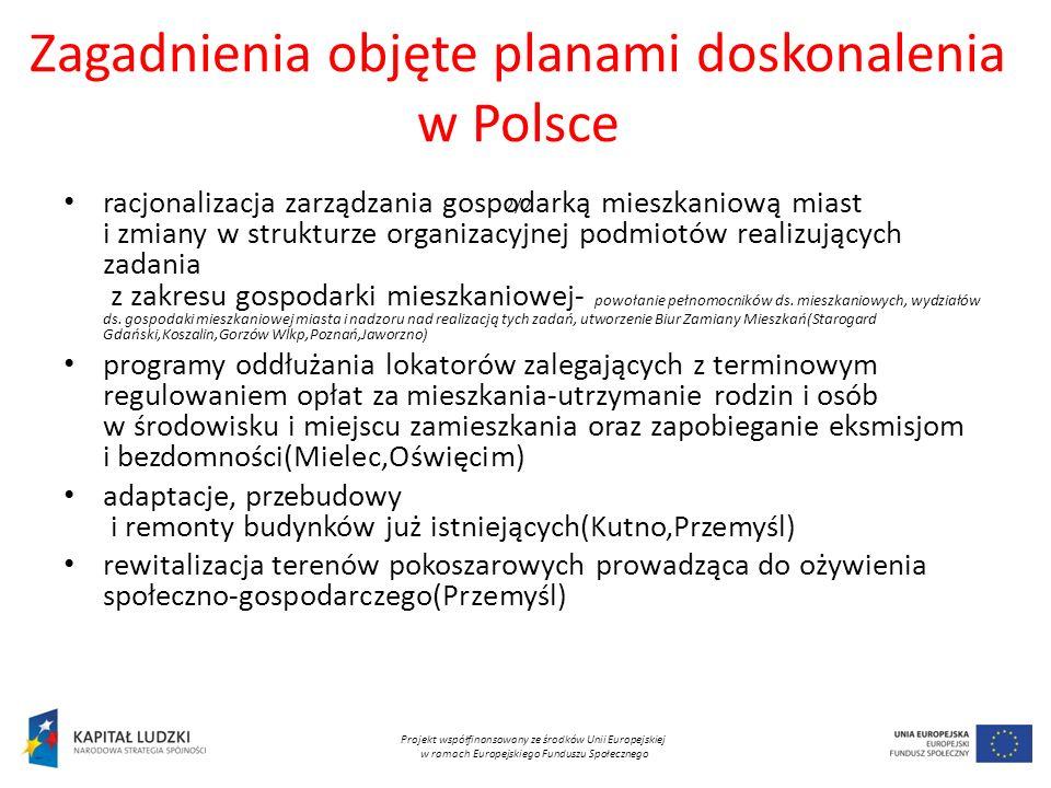 Zagadnienia objęte planami doskonalenia w Polsce 2/2 racjonalizacja zarządzania gospodarką mieszkaniową miast i zmiany w strukturze organizacyjnej podmiotów realizujących zadania z zakresu gospodarki mieszkaniowej- powołanie pełnomocników ds.