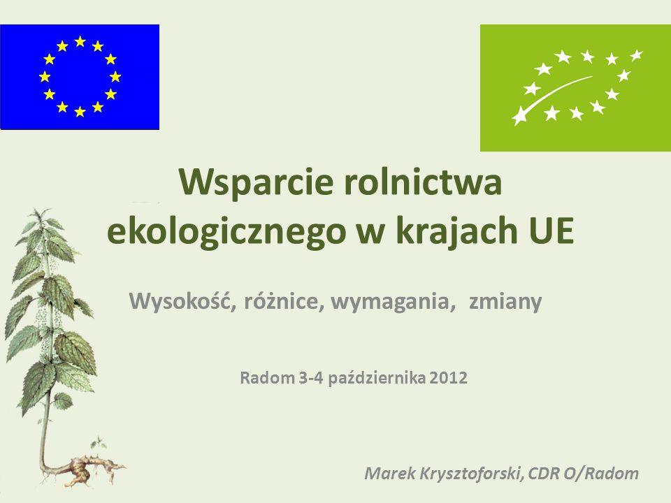 Wsparcie rolnictwa ekologicznego w krajach UE Wysokość, różnice, wymagania, zmiany Radom 3-4 października 2012 Marek Krysztoforski, CDR O/Radom
