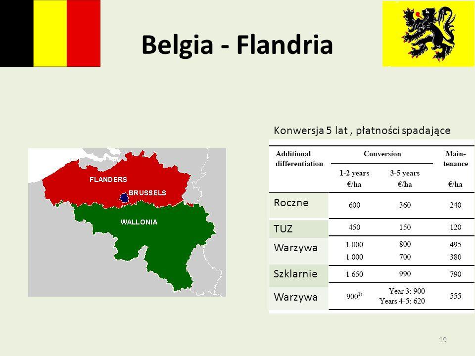 Belgia - Flandria Konwersja 5 lat, płatności spadające Roczne TUZ Warzywa Szklarnie Warzywa 19