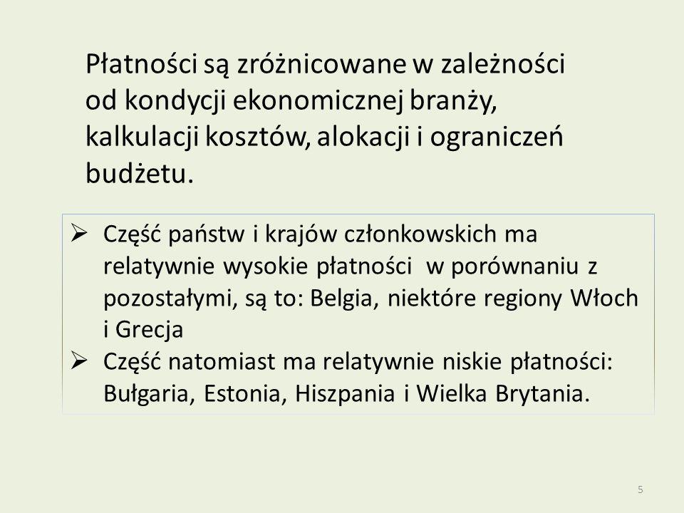 Część państw i krajów członkowskich ma relatywnie wysokie płatności w porównaniu z pozostałymi, są to: Belgia, niektóre regiony Włoch i Grecja Część n