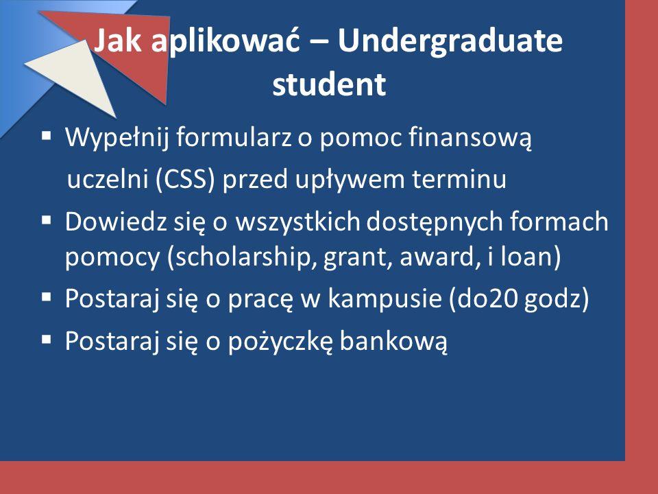 Jak aplikować – Undergraduate student Wypełnij formularz o pomoc finansową uczelni (CSS) przed upływem terminu Dowiedz się o wszystkich dostępnych for