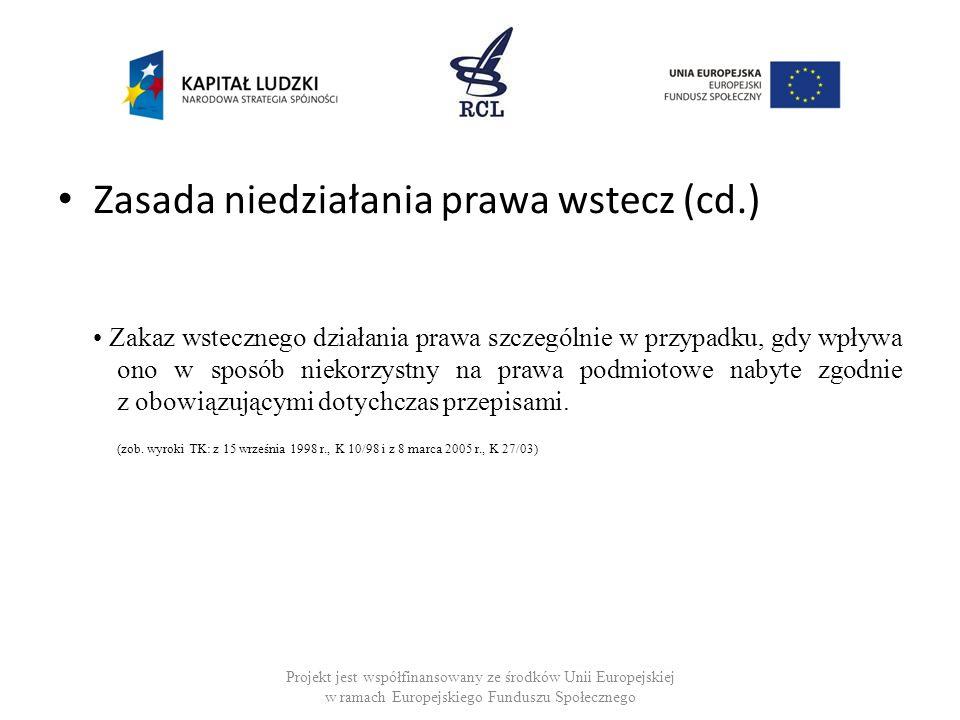 Zasada niedziałania prawa wstecz (cd.) Zakaz wstecznego działania prawa szczególnie w przypadku, gdy wpływa ono w sposób niekorzystny na prawa podmiot