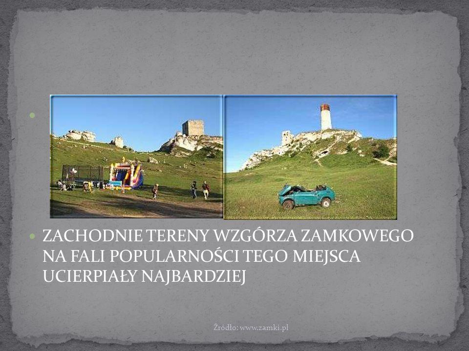 ZACHODNIE TERENY WZGÓRZA ZAMKOWEGO NA FALI POPULARNOŚCI TEGO MIEJSCA UCIERPIAŁY NAJBARDZIEJ Źródło: www.zamki.pl