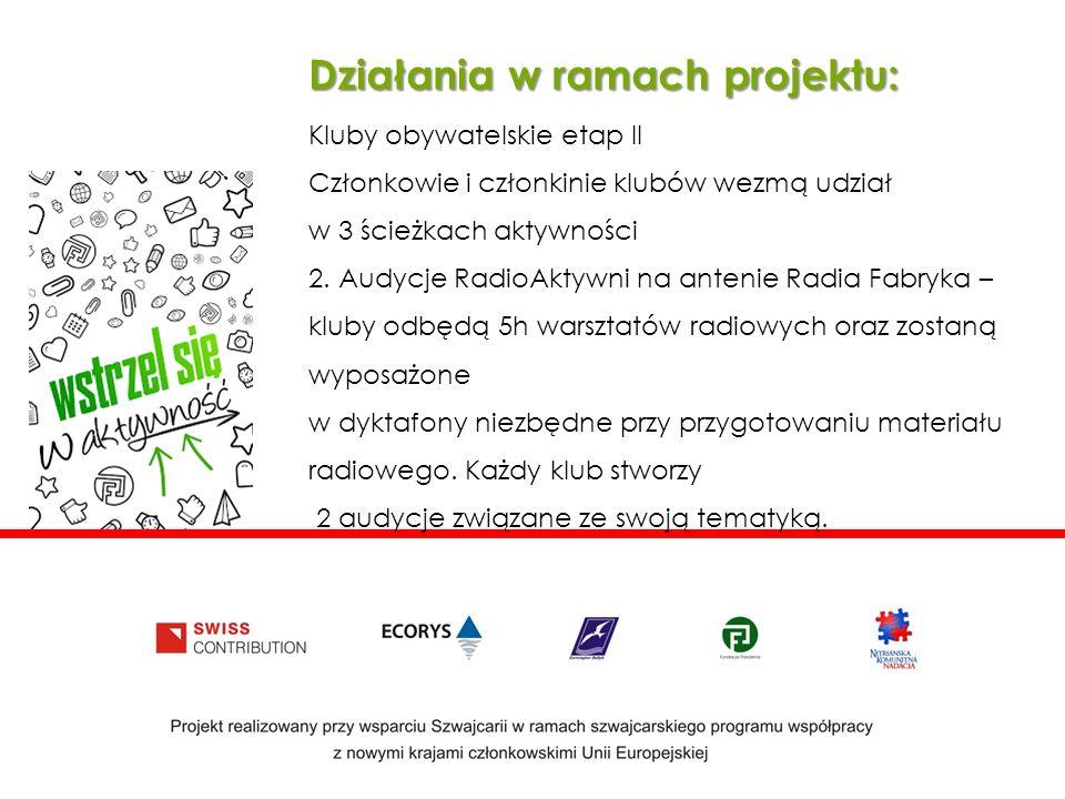 Działania w ramach projektu: Kluby obywatelskie etap II Członkowie i członkinie klubów wezmą udział w 3 ścieżkach aktywności 2.