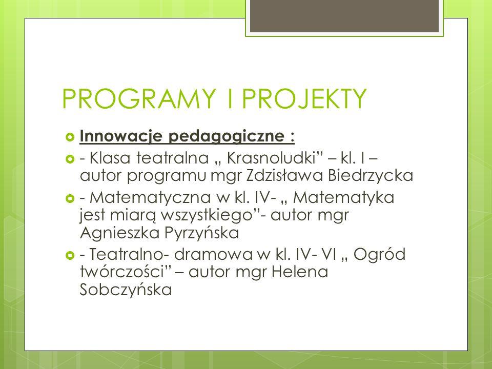 PROGRAMY I PROJEKTY Innowacje pedagogiczne : - Klasa teatralna Krasnoludki – kl. I – autor programu mgr Zdzisława Biedrzycka - Matematyczna w kl. IV-