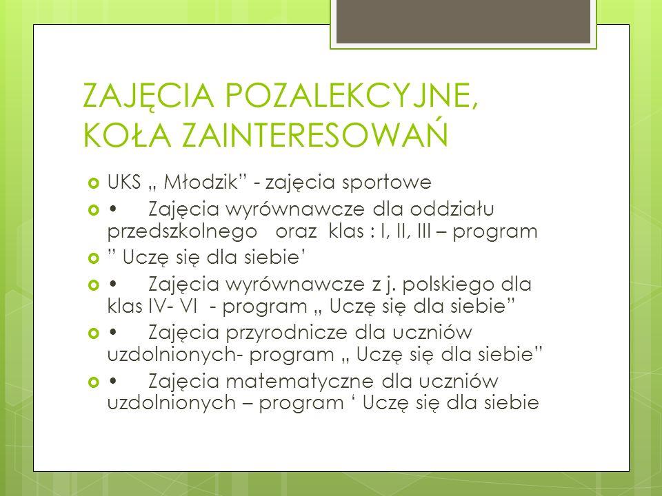 ZAJĘCIA POZALEKCYJNE, KOŁA ZAINTERESOWAŃ UKS Młodzik - zajęcia sportowe Zajęcia wyrównawcze dla oddziału przedszkolnego oraz klas : I, II, III – progr