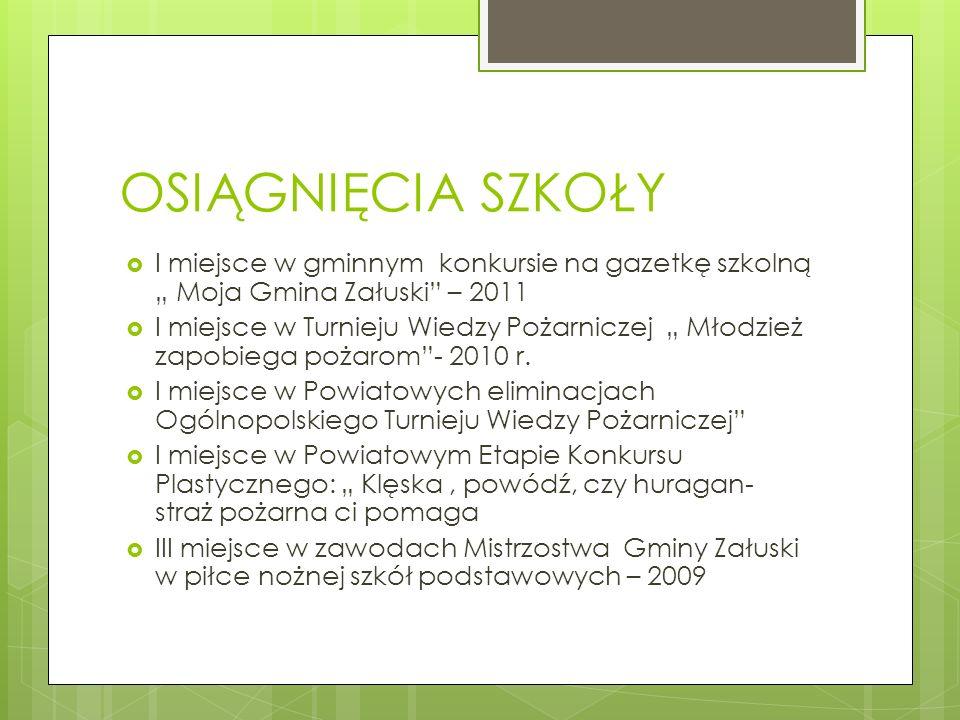 OSIĄGNIĘCIA SZKOŁY I miejsce w gminnym konkursie na gazetkę szkolną Moja Gmina Załuski – 2011 I miejsce w Turnieju Wiedzy Pożarniczej Młodzież zapobie