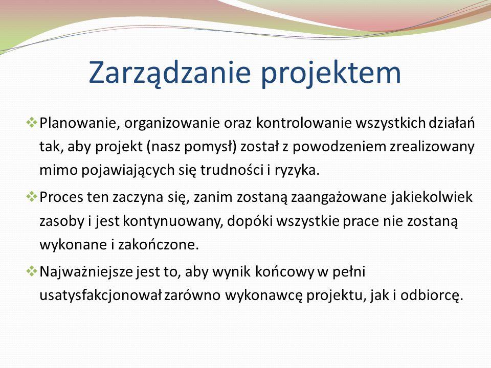 Zarządzanie projektem Planowanie, organizowanie oraz kontrolowanie wszystkich działań tak, aby projekt (nasz pomysł) został z powodzeniem zrealizowany