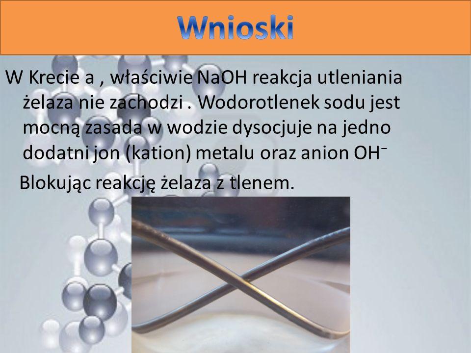 W Krecie a, właściwie NaOH reakcja utleniania żelaza nie zachodzi. Wodorotlenek sodu jest mocną zasada w wodzie dysocjuje na jedno dodatni jon (kation