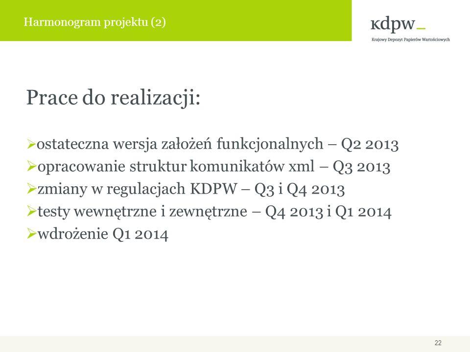 Prace do realizacji: ostateczna wersja założeń funkcjonalnych – Q2 2013 opracowanie struktur komunikatów xml – Q3 2013 zmiany w regulacjach KDPW – Q3 i Q4 2013 testy wewnętrzne i zewnętrzne – Q4 2013 i Q1 2014 wdrożenie Q1 2014 Harmonogram projektu (2) 22