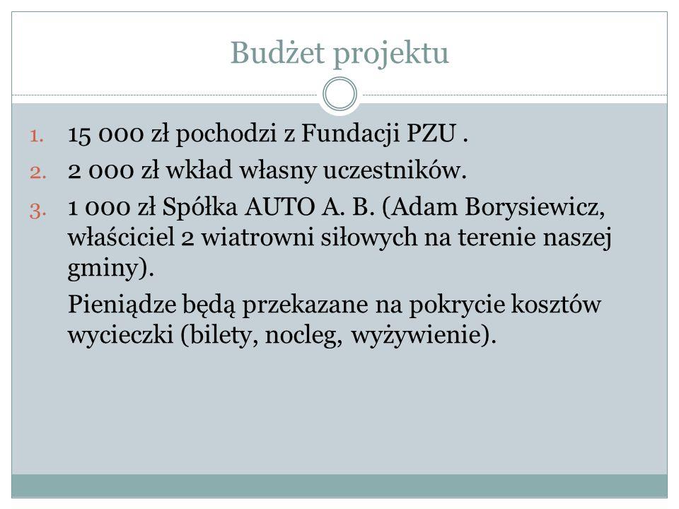 Budżet projektu 1. 15 000 zł pochodzi z Fundacji PZU. 2. 2 000 zł wkład własny uczestników. 3. 1 000 zł Spółka AUTO A. B. (Adam Borysiewicz, właścicie