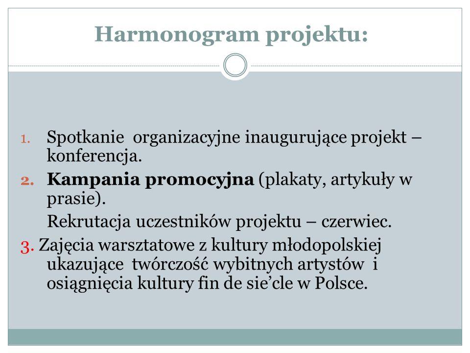 Harmonogram projektu: 1. Spotkanie organizacyjne inaugurujące projekt – konferencja. 2. Kampania promocyjna (plakaty, artykuły w prasie). Rekrutacja u