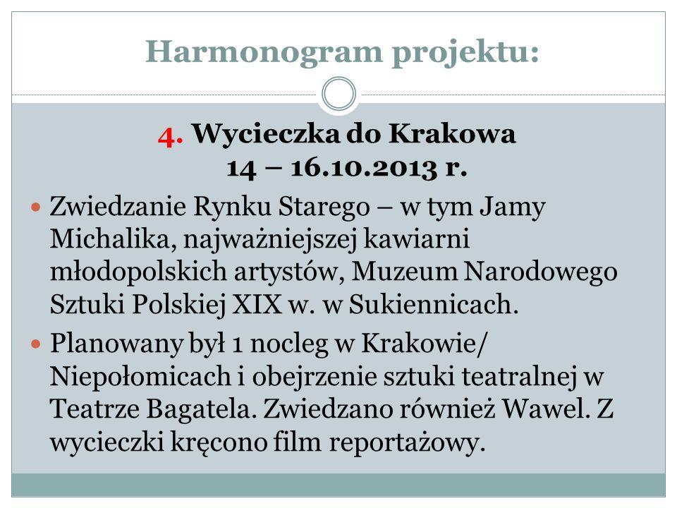 Harmonogram projektu: 4. Wycieczka do Krakowa 14 – 16.10.2013 r. Zwiedzanie Rynku Starego – w tym Jamy Michalika, najważniejszej kawiarni młodopolskic