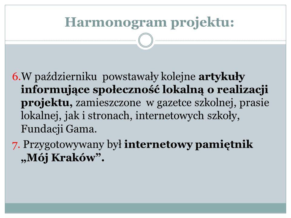 Harmonogram projektu: 6.W październiku powstawały kolejne artykuły informujące społeczność lokalną o realizacji projektu, zamieszczone w gazetce szkol