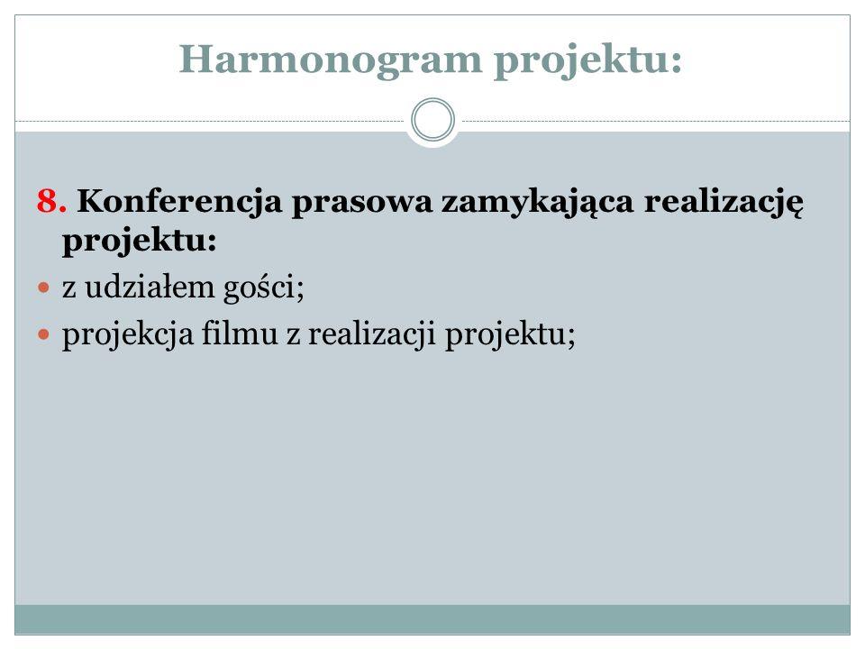 Harmonogram projektu: 8. Konferencja prasowa zamykająca realizację projektu: z udziałem gości; projekcja filmu z realizacji projektu;