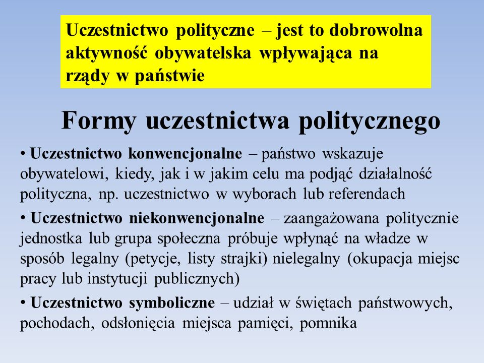Formy uczestnictwa politycznego Uczestnictwo konwencjonalne – państwo wskazuje obywatelowi, kiedy, jak i w jakim celu ma podjąć działalność polityczna, np.