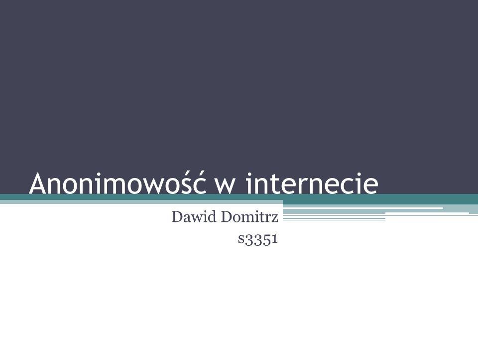 Anonimowość w internecie Dawid Domitrz s3351