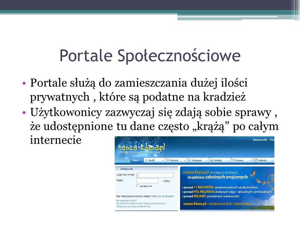 Portale Społecznościowe Portale służą do zamieszczania dużej ilości prywatnych, które są podatne na kradzież Użytkowonicy zazwyczaj się zdają sobie sprawy, że udostępnione tu dane często krążą po całym internecie