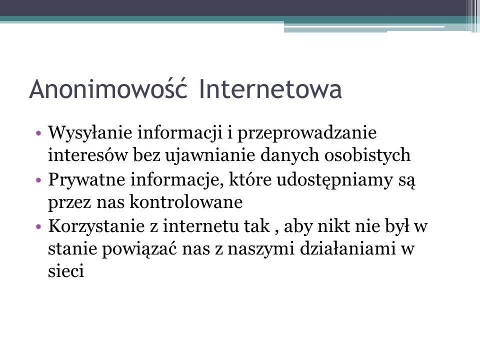 Anonimowość Internetowa Wysyłanie informacji i przeprowadzanie interesów bez ujawnianie danych osobistych Prywatne informacje, które udostępniamy są przez nas kontrolowane Korzystanie z internetu tak, aby nikt nie był w stanie powiązać nas z naszymi działaniami w sieci
