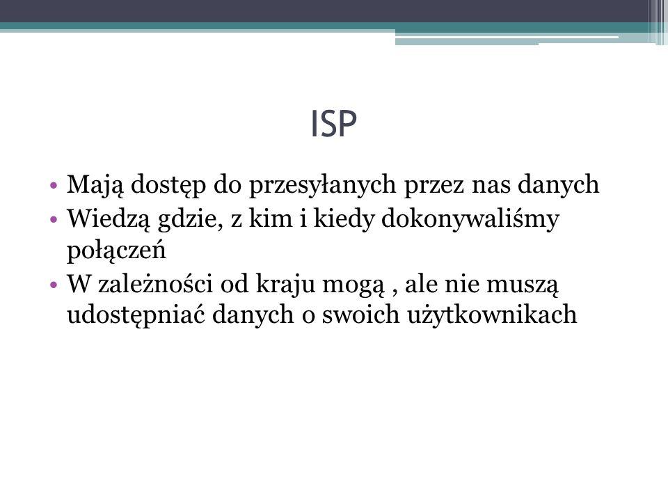 ISP Mają dostęp do przesyłanych przez nas danych Wiedzą gdzie, z kim i kiedy dokonywaliśmy połączeń W zależności od kraju mogą, ale nie muszą udostępniać danych o swoich użytkownikach
