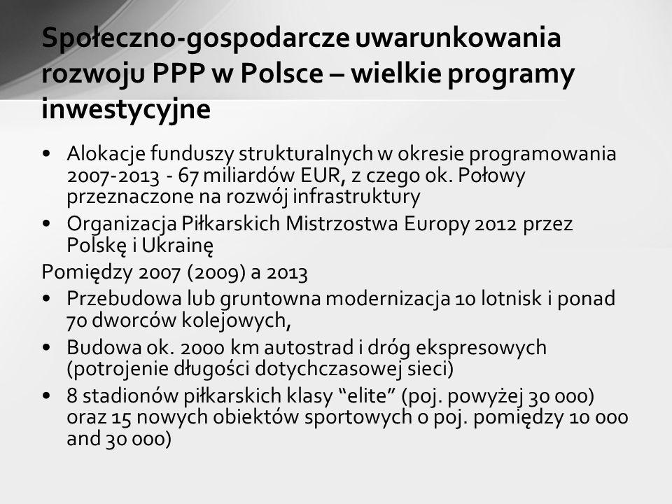 Społeczno-gospodarcze uwarunkowania rozwoju PPP w Polsce – wielkie programy inwestycyjne Alokacje funduszy strukturalnych w okresie programowania 2007