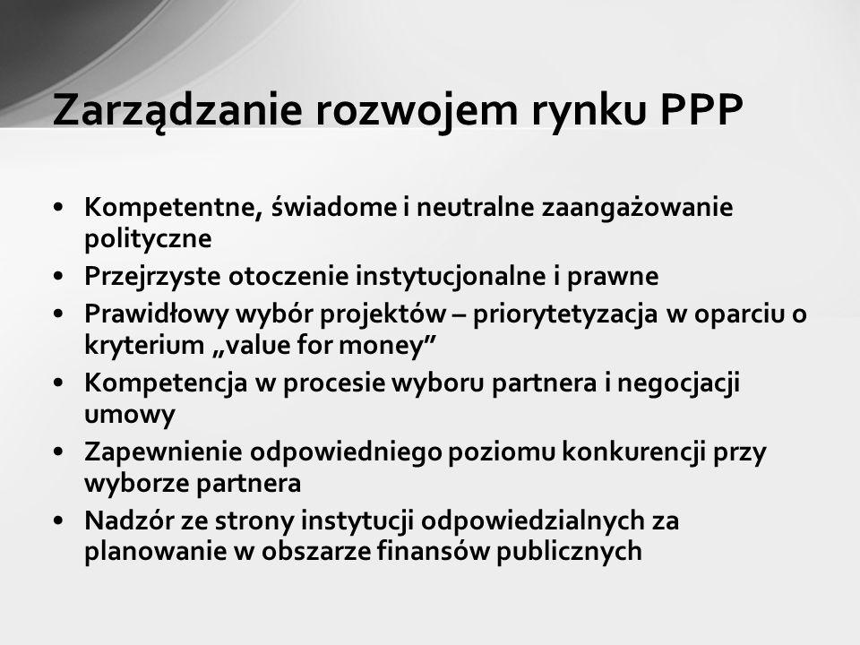 Zarządzanie rozwojem rynku PPP Kompetentne, świadome i neutralne zaangażowanie polityczne Przejrzyste otoczenie instytucjonalne i prawne Prawidłowy wy