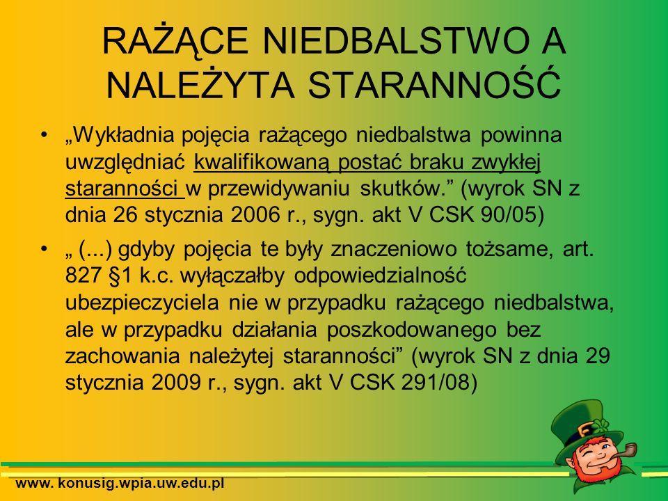 www. konusig.wpia.uw.edu.pl RAŻĄCE NIEDBALSTWO A NALEŻYTA STARANNOŚĆ Wykładnia pojęcia rażącego niedbalstwa powinna uwzględniać kwalifikowaną postać b