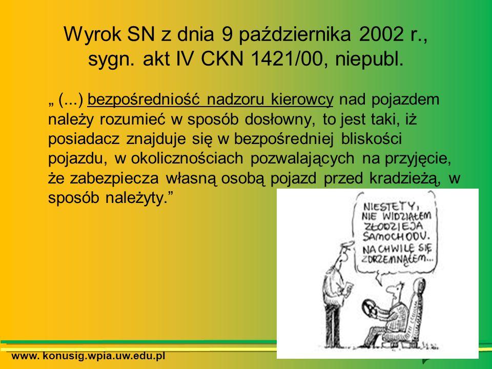 www. konusig.wpia.uw.edu.pl Wyrok SN z dnia 9 października 2002 r., sygn. akt IV CKN 1421/00, niepubl. (...) bezpośredniość nadzoru kierowcy nad pojaz