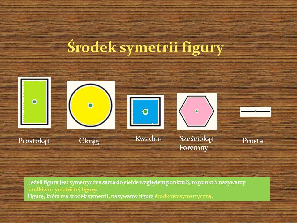 Jeżeli figura jest symetryczna sama do siebie względem punktu S, to punkt S nazywamy środkiem symetrii tej figury. Figurę, która ma środek symetrii, n