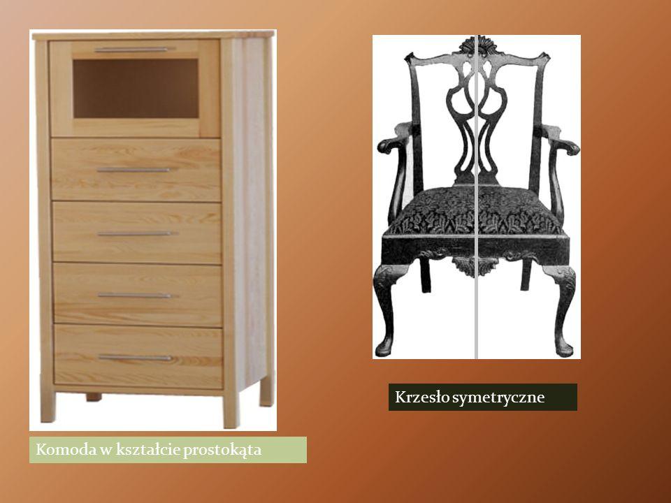 Komoda w kształcie prostokąta Krzesło symetryczne