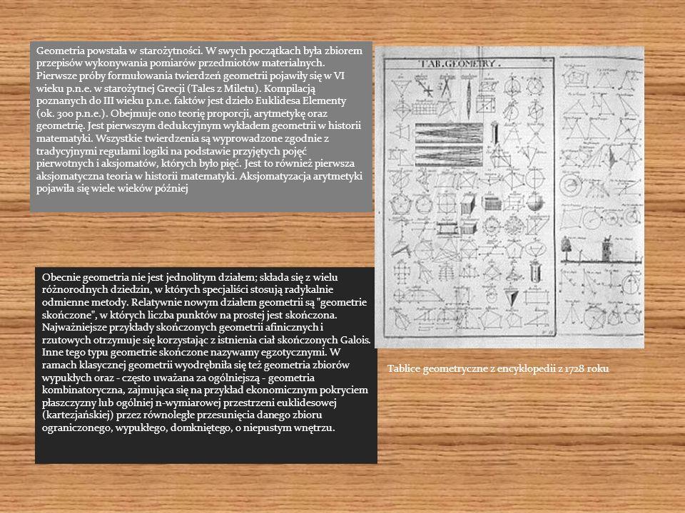 Geometria powstała w starożytności. W swych początkach była zbiorem przepisów wykonywania pomiarów przedmiotów materialnych. Pierwsze próby formułowan