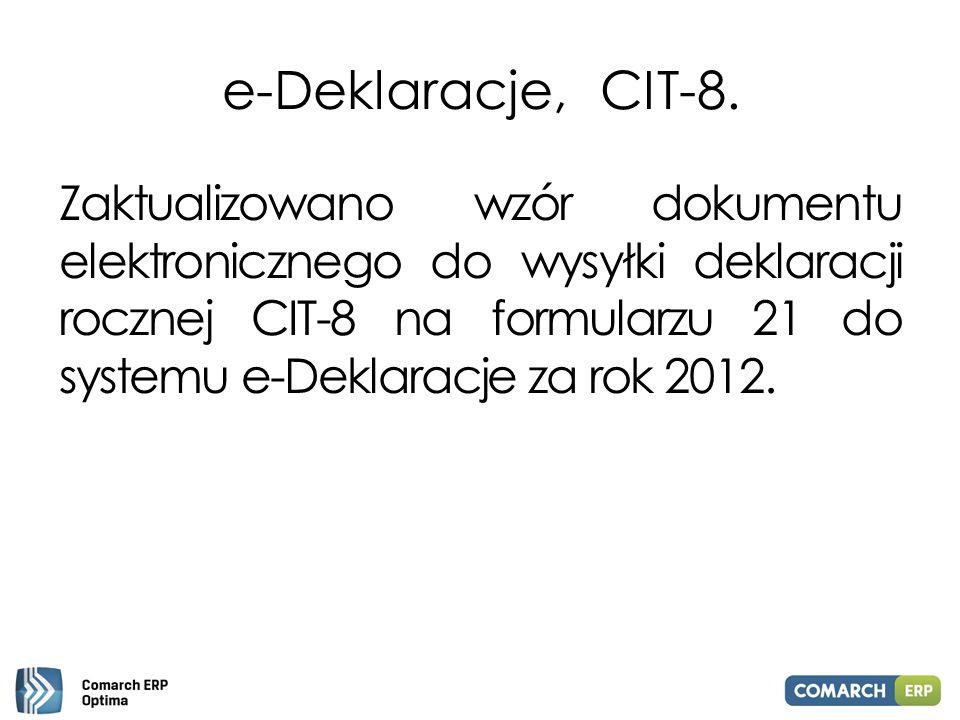 e-Deklaracje, CIT-8. Zaktualizowano wzór dokumentu elektronicznego do wysyłki deklaracji rocznej CIT-8 na formularzu 21 do systemu e-Deklaracje za rok