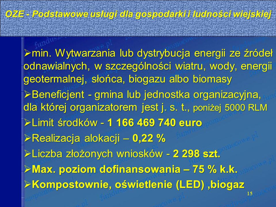 OZE - Podstawowe usługi dla gospodarki i ludności wiejskiej min.