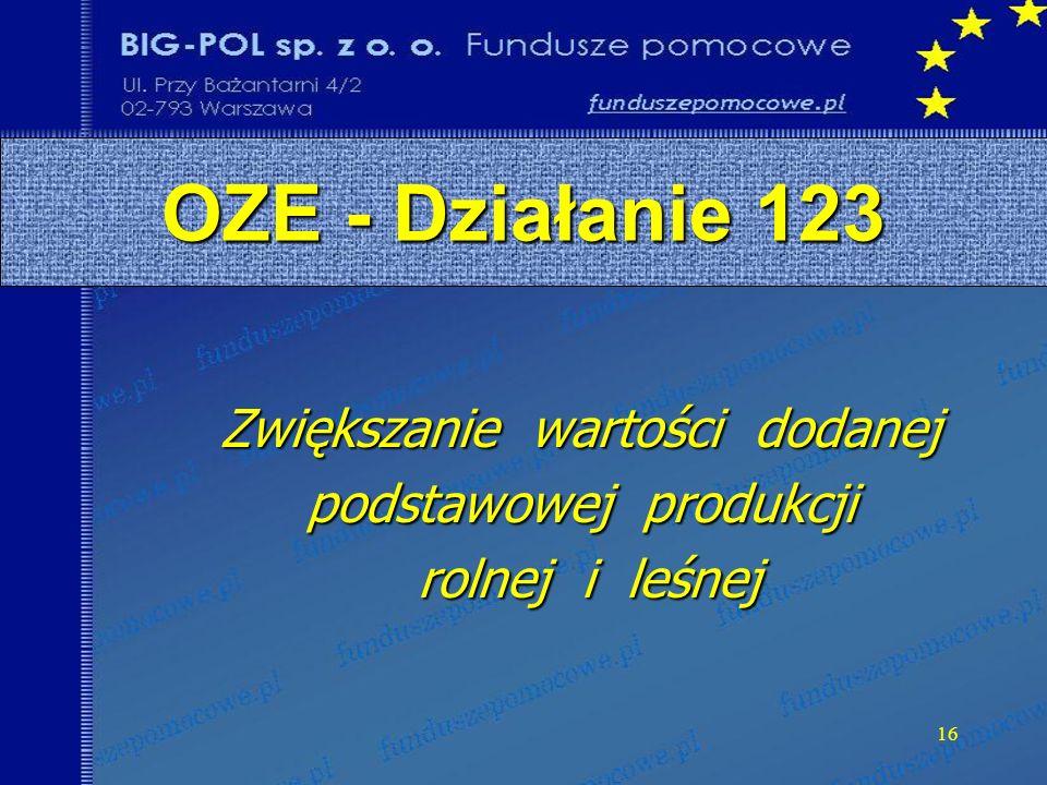 16 OZE - Działanie 123 Zwiększanie wartości dodanej podstawowej produkcji rolnej i leśnej rolnej i leśnej