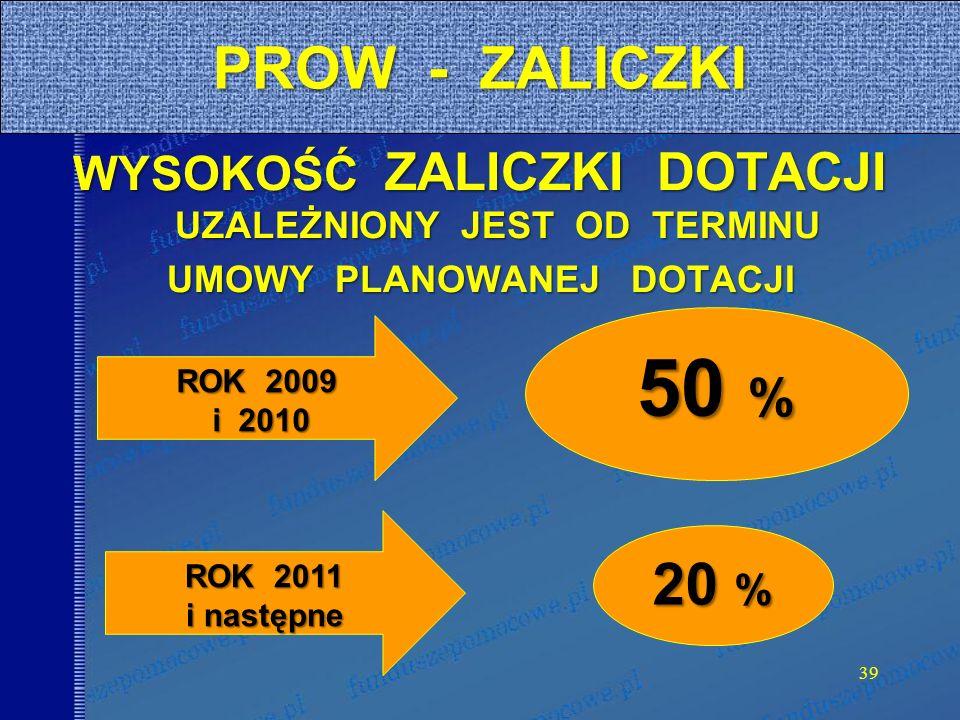 39 PROW - ZALICZKI WYSOKOŚĆ ZALICZKI DOTACJI UZALEŻNIONY JEST OD TERMINU UMOWY PLANOWANEJ DOTACJI ROK 2009 i 2010 i 2010 ROK 2011 i następne 50 % 20 %
