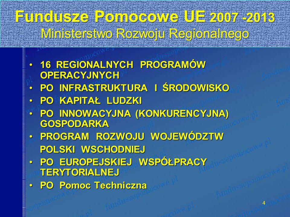 4 Fundusze Pomocowe UE 2007 -2013 Ministerstwo Rozwoju Regionalnego 16 REGIONALNYCH PROGRAMÓW OPERACYJNYCH16 REGIONALNYCH PROGRAMÓW OPERACYJNYCH PO INFRASTRUKTURA I ŚRODOWISKOPO INFRASTRUKTURA I ŚRODOWISKO PO KAPITAŁ LUDZKIPO KAPITAŁ LUDZKI PO INNOWACYJNA (KONKURENCYJNA) GOSPODARKAPO INNOWACYJNA (KONKURENCYJNA) GOSPODARKA PROGRAM ROZWOJU WOJEWÓDZTWPROGRAM ROZWOJU WOJEWÓDZTW POLSKI WSCHODNIEJ POLSKI WSCHODNIEJ PO EUROPEJSKIEJ WSPÓŁPRACY TERYTORIALNEJPO EUROPEJSKIEJ WSPÓŁPRACY TERYTORIALNEJ PO Pomoc TechnicznaPO Pomoc Techniczna