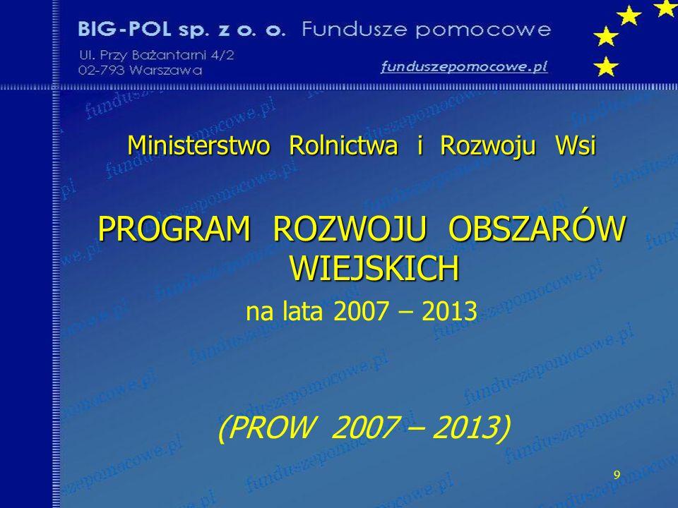 9 Ministerstwo Rolnictwa i Rozwoju Wsi PROGRAM ROZWOJU OBSZARÓW WIEJSKICH na lata 2007 – 2013 (PROW 2007 – 2013)